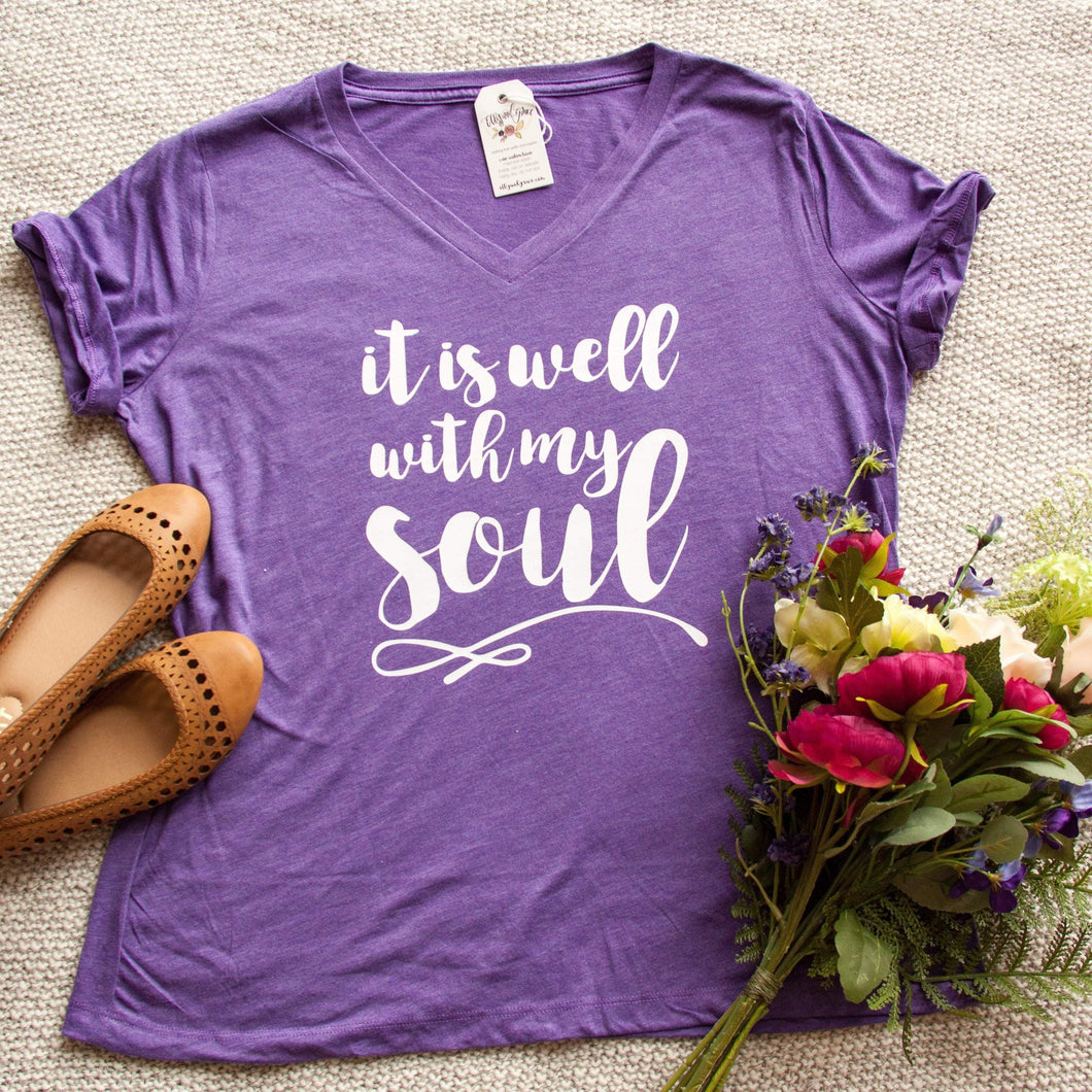It is Well With My Soul Relaxed Ladies Vneck-ellyandgrace