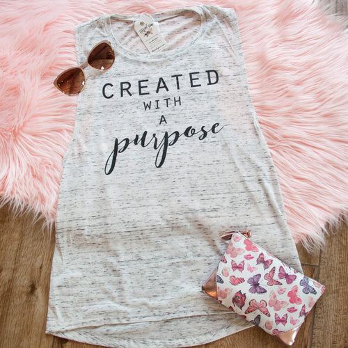 Created with a Purpose Ladies Muscle Tank - Christian shirt for women