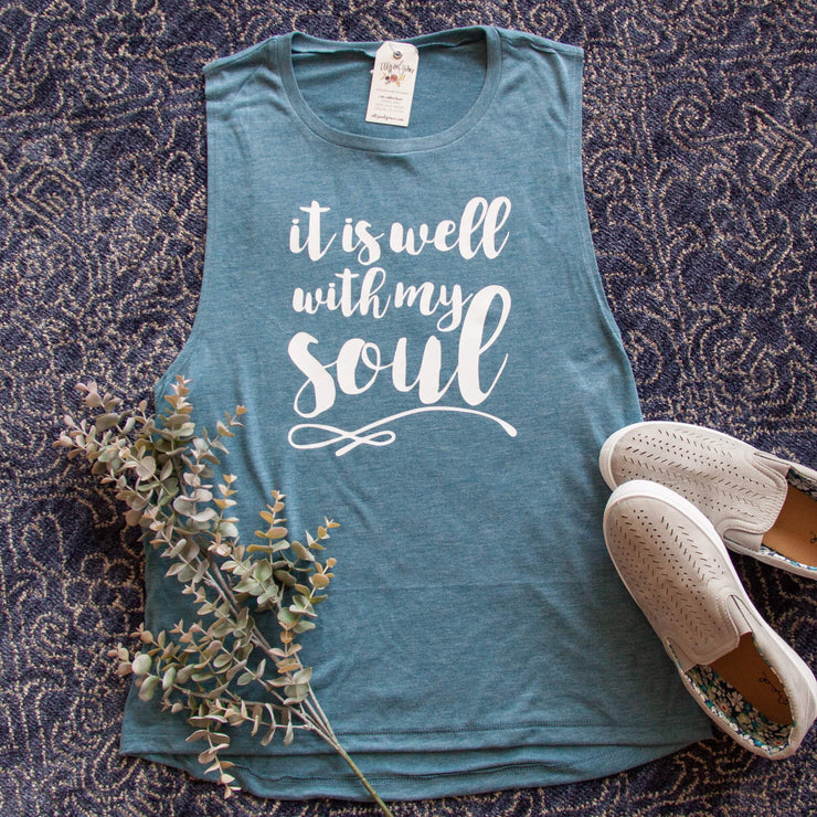 It is Well with My Soul Ladies Muscle Tank-ellyandgrace