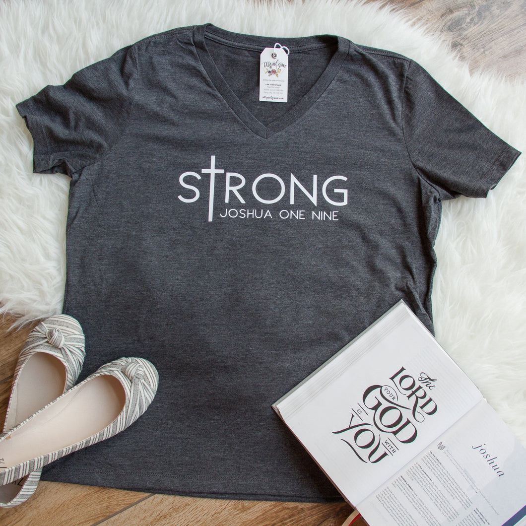 sTrong Joshua 1:9 Relaxed Ladies Vneck-ellyandgrace