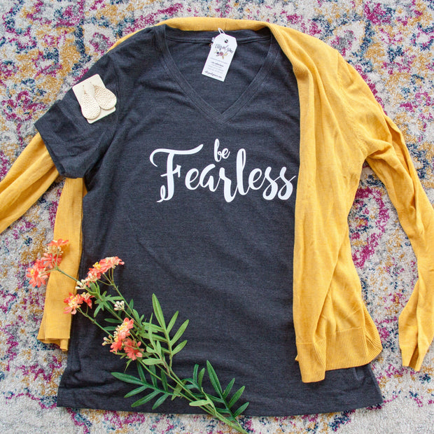 Be Fearless Relaxed Ladies Vneck-ellyandgrace