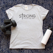 sTrong Joshua 1:9 Ladies Short Sleeve Shirt-ellyandgrace