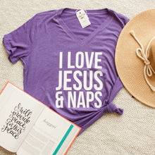 I Love Jesus and Naps Relaxed Ladies Vneck-ellyandgrace