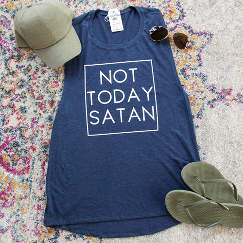 Not Today Satan Ladies Muscle Tank - Christian shirt for women