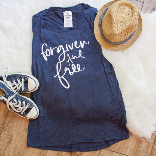 Forgiven and Free Ladies Muscle Tank - Christian shirt for women