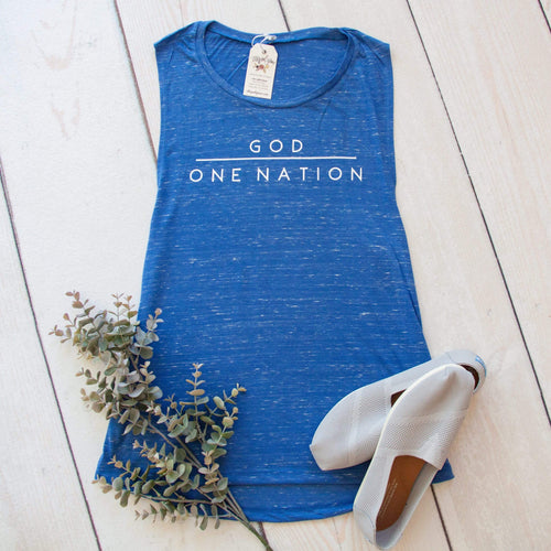 One Nation Under God Ladies Muscle Tank - Christian shirt for women