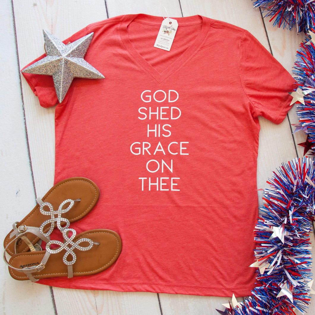 God Shed His Grace on Thee Relaxed Ladies Vneck-ellyandgrace