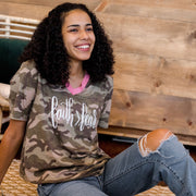 Faith > Fear Camo Premium Ladies V-Neck