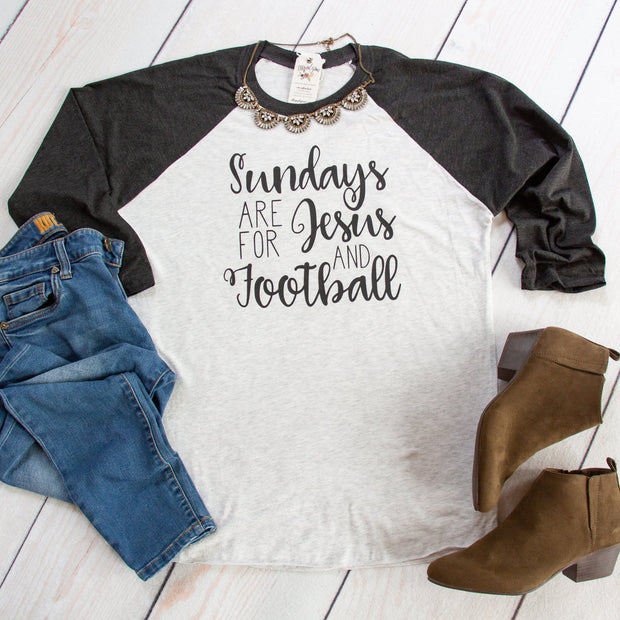 Sundays are for Jesus and Football Baseball Tee-ellyandgrace