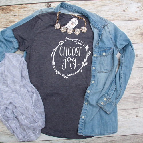 Choose Joy Triblend Short Sleeve Shirt-ellyandgrace