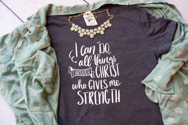 I Can Do All Things through Christ Philippians 4:13 Triblend Short Sleeve Shirt-ellyandgrace