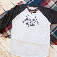 All I Need Jesus and My Cat Raglan Baseball Tee-ellyandgrace