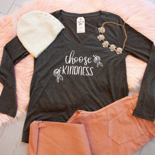 Choose Kindness Longsleeve V-Neck-ellyandgrace