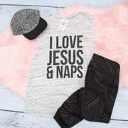 I Love Jesus and Naps Ladies Muscle Tank