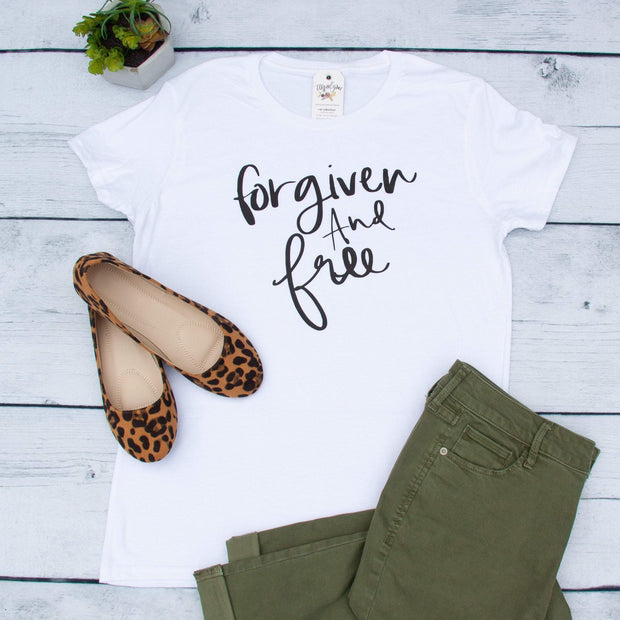 Forgiven and Free Ladies Short Sleeve Shirt