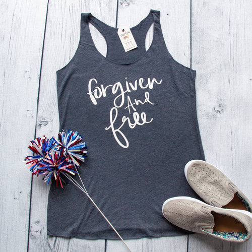 Forgiven and Free Ladies Racerback Triblend Tank