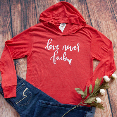 Love Never Fails T-Shirt Hoodie-ellyandgrace