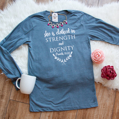 She is Clothed in Strength and Dignity Crew Longsleeve-ellyandgrace