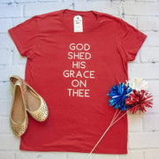 God Shed His Grace on Thee Ladies Short Sleeve Shirt