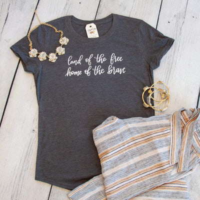 Land of the Free Home of the Brave Ladies Short Sleeve Shirt