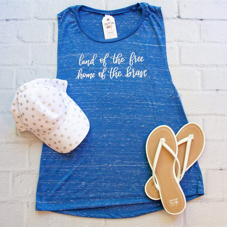 Land of the Free Home of the Brave Ladies Muscle Tank