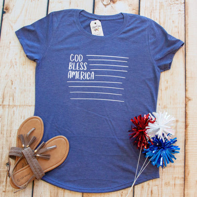 God Bless America Ladies Short Sleeve Shirt