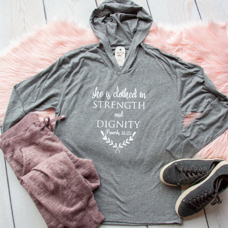She is Clothed in Strength and Dignity T-Shirt Hoodie-ellyandgrace