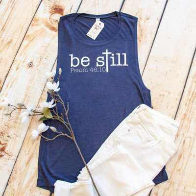 Be Still Cross Ladies Muscle Tank