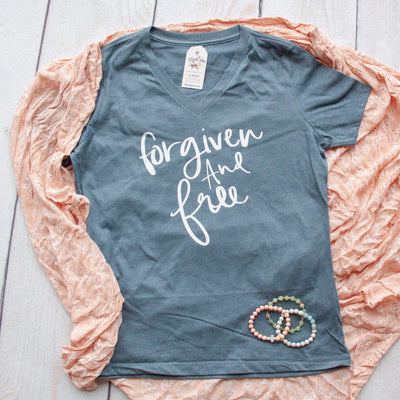 Forgiven and Free Relaxed Ladies Vneck-ellyandgrace