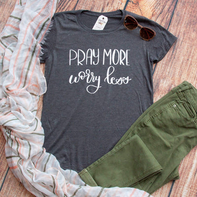 Pray More Worry Less Triblend Short Sleeve Shirt-ellyandgrace