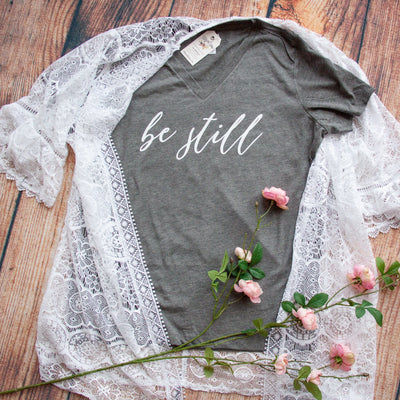 Be Still Relaxed Ladies Vneck-ellyandgrace