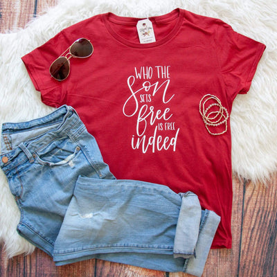 Who the Son Sets Free is Free Indeed Ladies Short Sleeve Shirt