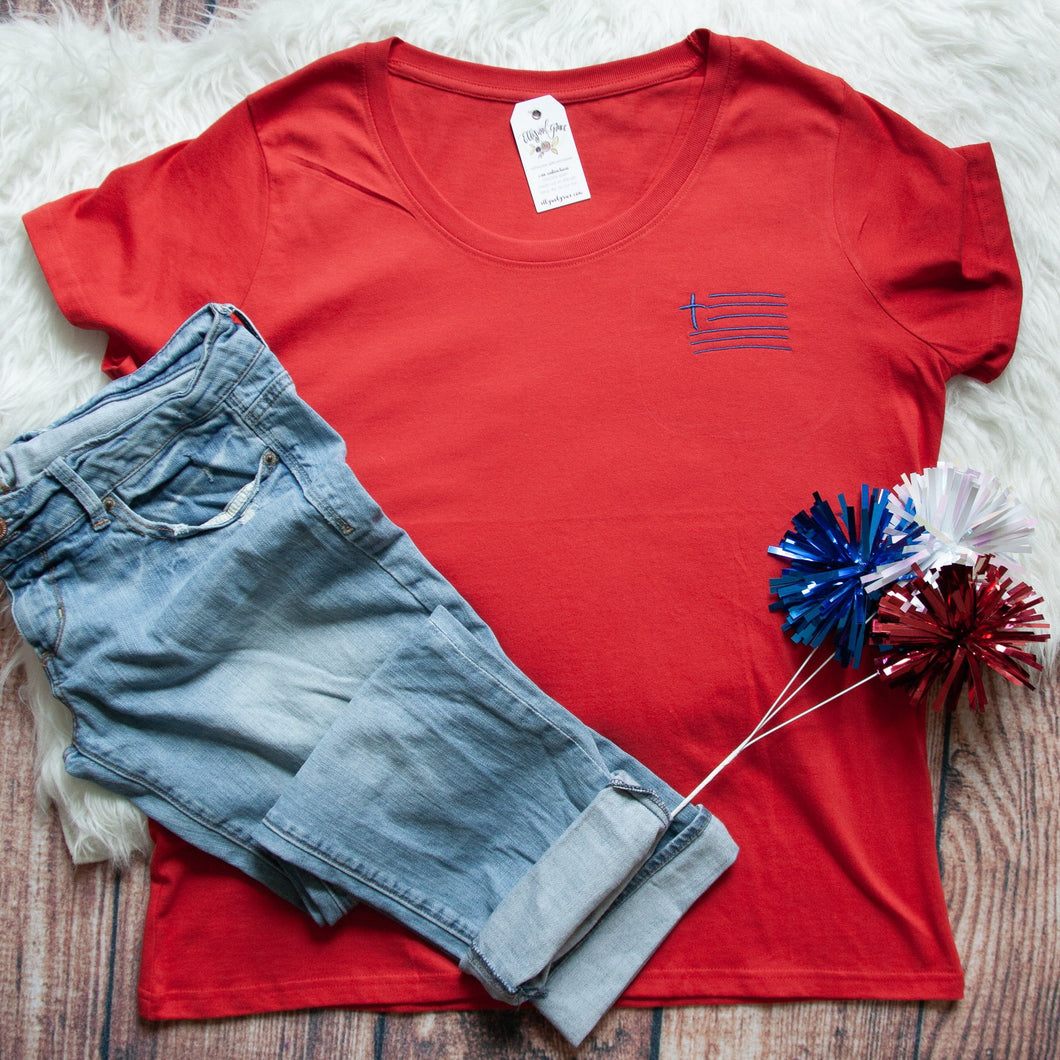 Cross Flag Embroidered Curvy Tee