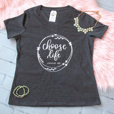 Choose Life Relaxed Ladies Vneck-ellyandgrace
