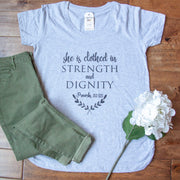 She is Clothed in Strength and Dignity Ladies Maternity Shirt
