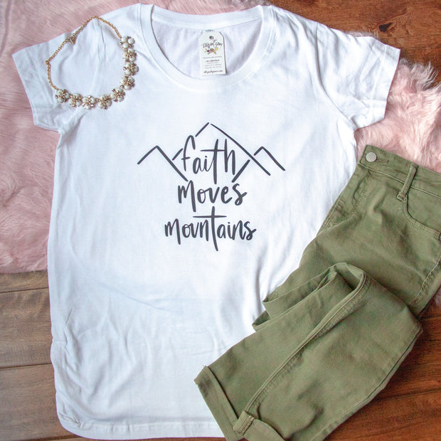 Faith Moves Mountains Ladies Maternity Shirt