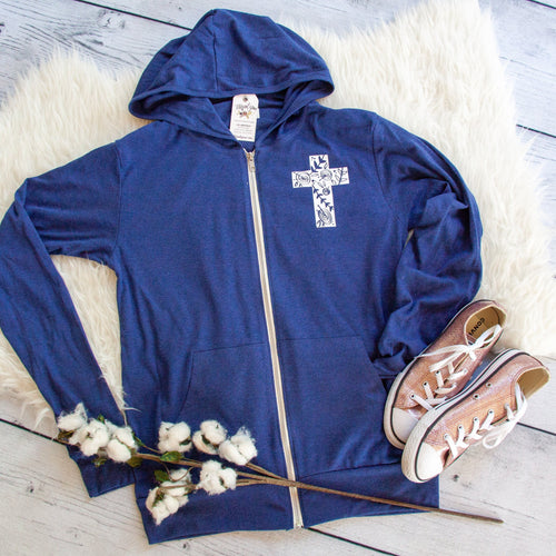 Floral Cross Lightweight Zip up Hoodie