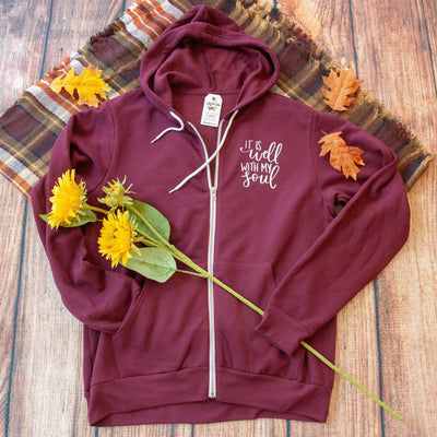 It Is Well with My Soul Premium Fleece Zip Up Hoodie