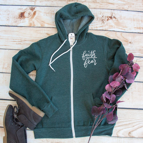 Faith > Fear Premium Fleece Zip Up Hoodie