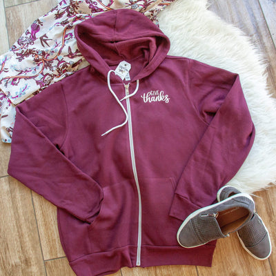Give Thanks Premium Fleece Zip Up Hoodie
