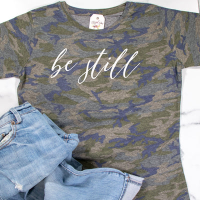 Be Still Camo Ladies Short Sleeve Shirt