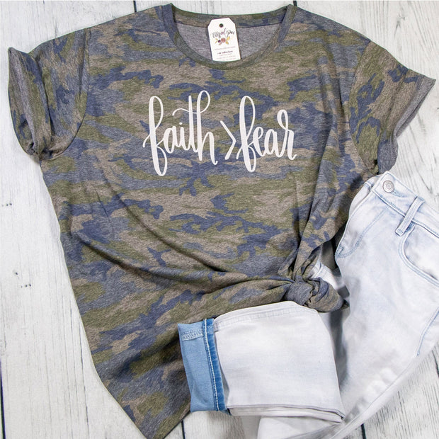 Faith > Fear Camo Ladies Short Sleeve Shirt
