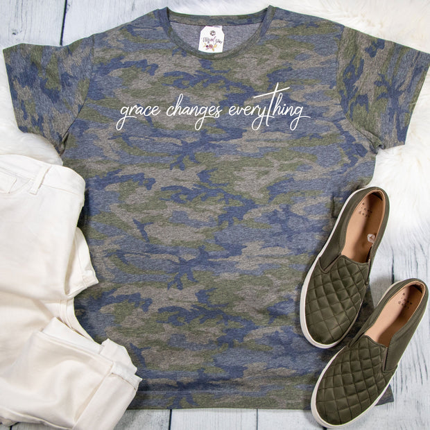 Grace Changes Everything Camo Ladies Short Sleeve Shirt