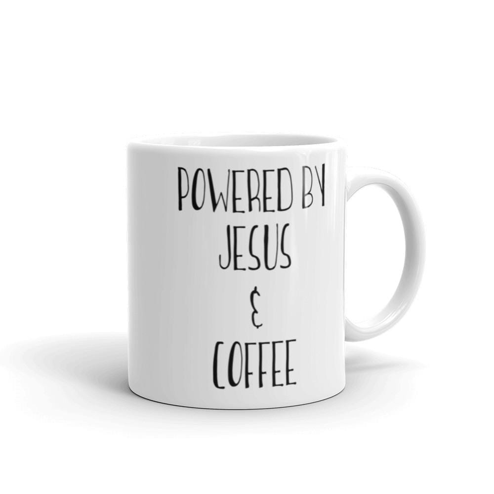 Powered by Jesus and Coffee Mug - Christian shirt for women
