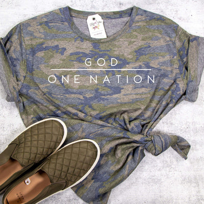One Nation Under God Camo Ladies Short Sleeve Shirt