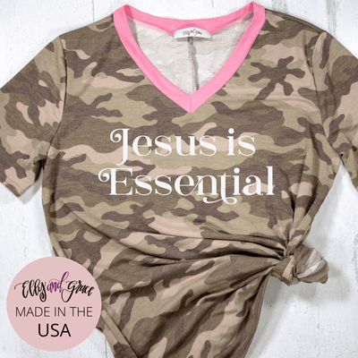 Jesus is Essential Camo Premium Ladies V-Neck