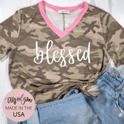 Blessed Modern Camo Premium Ladies V-Neck