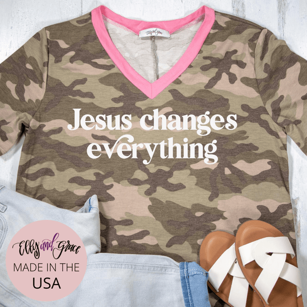 Jesus Changes Everything Camo Premium Ladies V-Neck
