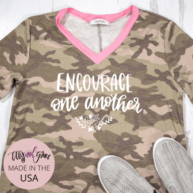 Encourage One Another Camo Premium Ladies V-Neck