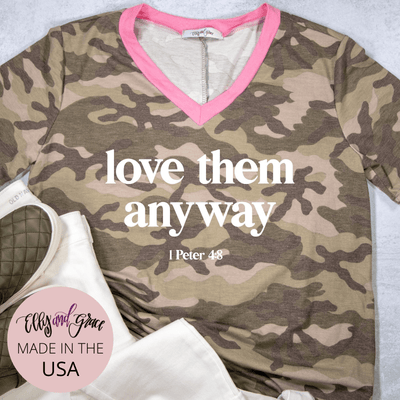 Love Them Anyway Camo Premium Ladies V-Neck